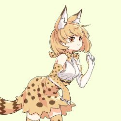 1girl animal_ears bare_shoulders blush_stickers bow bowtie clenched_hands cowboy_shot cross-laced_clothes elbow_gloves expressionless eyebrows_visible_through_hair eyelashes flat_color from_side gloves hand_up kemono_friends looking_at_viewer namec0 oekaki orange_eyes orange_hair paw_pose serval_(kemono_friends) serval_ears serval_print serval_tail shirt short_hair simple_background skirt sleeveless sleeveless_shirt smile solo striped_tail tail tareme thighhighs white_shirt yellow_background zettai_ryouiki