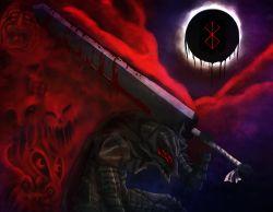 90s armor berserk black_sky blood brand_of_sacrifice cape eclipse faces fog froggle guts helmet highres huge_weapon moon solar_eclipse sword weapon