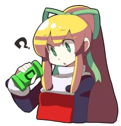 1girl ? artificial_vagina blonde_hair buttons dokan green_eyes hair_ribbon long_hair long_sleeves payot ponytail puffy_long_sleeves puffy_sleeves ribbon rockman rockman_(classic) roll solo