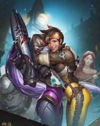 3girls annoyed baseball_bat brown_hair changyu_q emily_(overwatch) freckles goggles goggles_on_head gorilla gun highres hug looking_at_viewer multiple_girls overwatch purple_hair smile tracer_(overwatch) visor weapon widowmaker_(overwatch) winston_(overwatch)