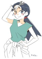 1girl black_eyes black_hair blush_stickers character_request commentary_request copyright_request looking_at_viewer sleeveless sweat translation_request wrench yukataro