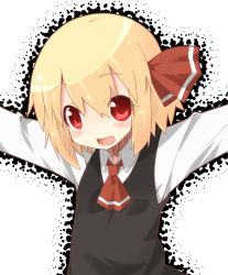 1girl black_dress blonde_hair blush dress eyebrows_visible_through_hair long_sleeves looking_at_viewer miiyon neckerchief open_mouth red_eyes red_neckerchief rumia short_hair smile solo touhou