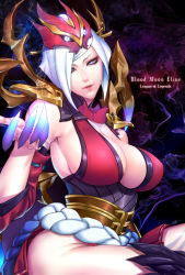 1girl armor armpits bangs blood_moon_elise blue_eyes braid breasts claws cleavage cleavage_cutout commentary_request dark_background detached_sleeves elise_(league_of_legends) elise_de_la_serre english glowing headwear highres insect_girl large_breasts league_of_legends long_hair looking_at_viewer monster_girl non_(nonzile) parted_lips shadow shoulder_armor shoulder_spikes sideboob sketch smile spider_girl spikes thighhighs thighs very_long_hair white_hair wide_sleeves