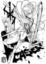 2girls armor back-to-back berserk boots breastplate cape casca dan_ciurckzak dual_persona faulds lineart lips long_hair messy_hair monochrome multiple_girls nose pauldrons short_hair sword thigh_boots thighhighs weapon