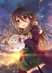 1girl ahoge alastor_(shakugan_no_shana) black_hair black_legwear blurry blush bow brown_eyes coat depth_of_field fur_trim hair_between_eyes holding jewelry ks lens_flare long_hair necklace nose_blush open_clothes open_coat open_mouth outdoors scarf school_uniform shakugan_no_shana shana sheep skirt sleeves_past_wrists stuffed_animal stuffed_toy sunrise thighhighs wind