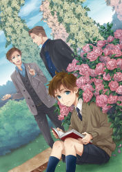 3boys akuta_michi blue_eyes book brown_hair bush charles_xavier dutch_angle flower magneto marvel multiple_boys reading rose x-men x-men:_first_class