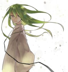 1boy androgynous enkidu_(fate/strange_fake) fate/strange_fake fate_(series) foreverhypnosis green_hair grey_eyes highres long_hair solo wide_sleeves