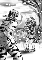 1boy 1girl coat crossover d:< fang geta greyscale hand_gesture hat kemono_friends king_cobra_(kemono_friends) metal_gear_(series) metal_gear_solid_3 monochrome naked_snake nazotyu scared slit_pupils tail tree you_gonna_get_eaten