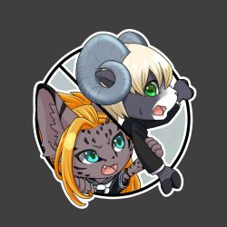 1boy 1girl artist_request blonde_hair blue_eyes cat furry goat green_eyes orange_hair school_uniform