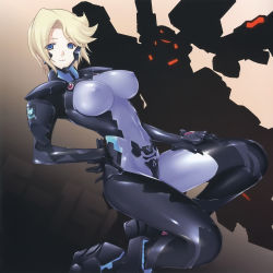 1girl absurdres blonde_hair blue_eyes bodysuit breasts covered_navel covered_nipples dutch_angle hand_on_hip head_tilt highres kneeling large_breasts looking_at_viewer mecha miyata_sou muvluv muvluv_alternative muvluv_total_eclipse scan short_hair silhouette smile solo stella_bremer