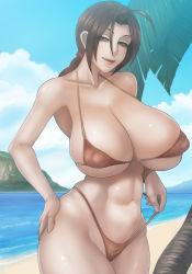1girl beach bikini breasts brown_eyes brown_hair cleavage female hanako_(pokemon) huge_breasts mature milf okai pokemon pokemon_(anime) sea solo swimsuit