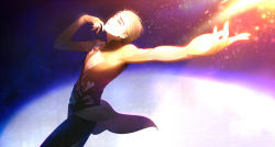 1boy blonde_hair bodysuit cowboy_shot eyelashes figure_skating fingerless_gloves from_side glint gloves glowing hair_slicked_back highres kanamura_ren katsuki_yuuri light_particles looking_away looking_up male_focus outstretched_arm parted_lips solo stage_lights sweat yuri!!!_on_ice