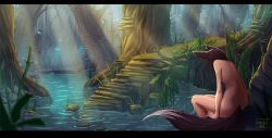 1girl animal_ears black_hair dimples_of_venus forest fox_ears fox_tail highres kate-fox katrin_fox kitsune letterboxed light_rays long_hair nature nude original pond signature sitting solo_focus sunbeam sunlight tail water wet when_you_see_it