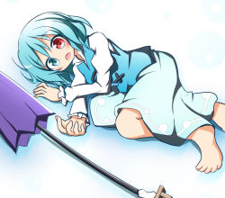 1girl barefoot blue_eyes blue_hair commentary_request gradient gradient_background heterochromia karakasa_obake matching_hair/eyes open_mouth red_eyes senba_chidori short_hair skirt solo tatara_kogasa touhou umbrella