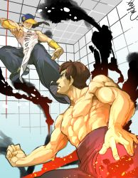 2boys abs baggy_pants baseball_cap battle black_hair braid bridal_gauntlets chinese_clothes fei_long fighting_stance flying_kick hat hat_over_one_eye hymc kicking long_hair male_focus multiple_boys muscle pants shirtless shoes short_hair single_braid sleeveless sneakers street_fighter street_fighter_iv yun_lee