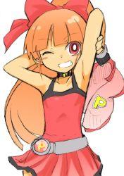 akatsutsumi_momoko armpits bow cartoon_network choutako fingerless_gloves gloves hyper_blossom long_hair powerpuff_girls powerpuff_girls_z red_eyes red_hair