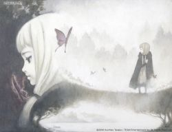 1girl 2006 2girls album_cover artist_name atelier_(series) atelier_iris_grand_phantasm bangs black_eyes blunt_bangs butterfly cape character_request closed_mouth cover expressionless face faux_traditional_media half-closed_eyes lake low_twintails monochrome multiple_girls nature official_art pale_skin platinum_blonde profile scan scan_artifacts sepia signature standing tanaka_kunihiko tree twintails