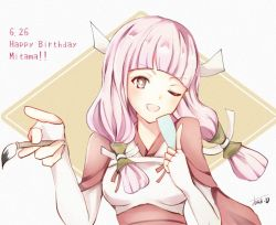 1girl artist_name atodonotea brown_eyes capelet character_name fire_emblem fire_emblem_if happy_birthday long_hair low_twintails mitama_(fire_emblem_if) one_eye_closed open_mouth paintbrush pink_hair solo star star-shaped_pupils symbol-shaped_pupils twintails