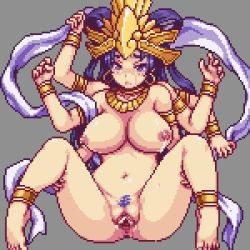 1girl animated animated_gif anus areolae ass barefoot blue_eyes blue_hair bouncing_breasts breasts earrings feet goddess jewelry kali lactation large_breasts loop monster monster_girl multi_limb nipples nude pixel_art pubic_hair pussy sb sex soles spread_legs spread_pussy toes uncensored vaginal