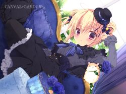 1girl ahoge blonde_hair couch double_bun dutch_angle flower hair_ornament hamster hat looking_at_viewer mini_top_hat miyasaka_miyu original parted_lips purple_eyes rose sitting solo top_hat
