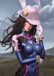 1girl animal_ears animal_hat animal_print bodysuit bracer breasts brown_hair bunny_ears bunny_print cloud cloudy_sky covered_navel d.va_(overwatch) day eyelashes facepaint facial_mark fake_animal_ears gloves hand_on_headwear hand_up hat hat_over_one_eye headphones high_collar highres kongjian_bo lips long_hair looking_at_viewer medium_breasts nose outdoors overwatch pauldrons pilot_suit pink_hat pink_lips ribbed_bodysuit shiny shiny_clothes shoulder_pads skin_tight sky smile solo turtleneck upper_body whisker_markings white_gloves
