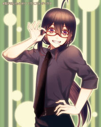 1boy adjusting_glasses ahoge bespectacled black_hair glasses grin hand_on_hip male_focus namazuo_toushirou necktie ponytail purple_eyes red-framed_eyewear smile striped striped_background touken_ranbu translation_request yuzuki_kaoru