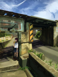 1girl absurdres against_wall bad_anatomy black_legwear black_skirt blue_sky bridge brown_shoes can cloud day fence full_body glance highres holding kneehighs loafers long_sleeves looking_at_viewer looking_to_the_side low_twintails original plant pleated_skirt poorly_drawn railroad_tracks road scenery school_uniform shadow shirt shoes sign sketch skirt sky sleeves_past_elbows sleeves_pushed_up soda_can solo summer tsucchiy twintails white_shirt