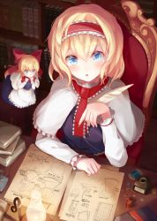 1girl :o alice_margatroid bangs blonde_hair blue_dress blue_eyes blurry blush book_stack bookshelf bow buttons capelet chair dark depth_of_field doll drawing dress eyebrows eyebrows_visible_through_hair fly frills from_above gears hair_between_eyes hair_bow hairband highres holding igakusei indoors ink_bottle lolita_hairband long_hair looking_at_viewer needle oil_lamp paper quill red_bow sash sewing_needle shanghai_doll short_hair sitting sitting_on_chair spool string table thread touhou white_apron