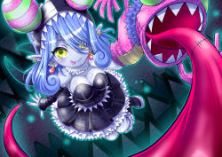 1girl appmon bandai blue_hair boots breasts demon_girl digimon digimon_universe:_appli_monsters dress earrings eyepatch fangs female fingerless_gloves gloves gothic_lolita grey_skin hand_puppet jewelry kangakuraku12 large_breasts lolita_fashion long_hair looking_at_viewer mienumon monster_girl no_bra puppet shiny_skin smile solo succubus tongue tongue_out yellow_eyes