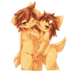 1boy 1girl artist_request brother_and_sister brown_eyes brown_hair censored dog furry incest nipples one_eye_closed penis small_breasts twins