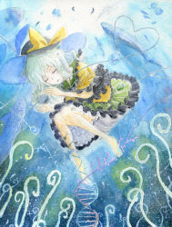 coral dna eyes_closed female hat heart komeiji_koishi mononofu7 ocean sleeping solo third_eye touhou traditional_media underwater whale