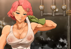 1girl areolae bare_shoulders biceps blush breasts cleavage erect_nipples gloves goggles goggles_on_head green_eyes green_gloves koutetsujou_no_kabaneri large_breasts muscle muscular_female nipples parted_lips pink_hair see-through short_hair shoujo_donburi solo steampunk tank_top upper_body yukina_(kabaneri)