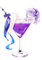 1girl 54hao bare_arms bare_legs barefoot blue_ribbon cocktail cocktail_glass commentary cup darker_than_black dress drinking_glass eyes_closed ice in_container in_cup legs long_hair original parted_lips ponytail purple_dress purple_eyes purple_hair ribbon short_dress sidelocks silver_hair sitting sleeping solo toothpick white_dress yin