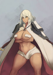 1girl breasts crossed_arms dark_skin large_breasts metal_owl_(aden12) no_bra serious solo