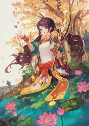 1girl :d arm_warmers autumn_leaves bead_necklace beads bell black_hair chinese_clothes criin_(659503) dress floating_hair green_eyes hair_ornament highres holding holding_weapon jewelry jingle_bell lily_pad looking_at_viewer low_twintails necklace open_mouth original outdoors partially_submerged petals prayer_beads puffy_short_sleeves puffy_sleeves river sash short_sleeves smile solo standing twintails weapon