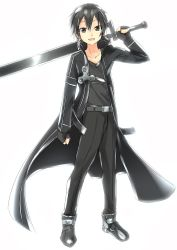 12ko 1boy black_eyes black_hair fingerless_gloves gloves highres kirito short_hair sword sword_art_online trench_coat weapon