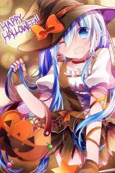 1girl blue_eyes blue_hair candy fingerless_gloves gloves halloween hat hatsune_miku highres lollipop long_hair one_eye_closed open_mouth skirt solo swirl_lollipop thighhighs vocaloid witch_hat yuruno