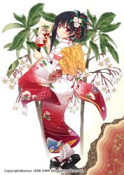 1girl black_hair blush floral_background floral_print flower flower_knight_girl from_behind full_body hagoita hair_flower hair_ornament japanese_clothes kimono looking_at_viewer looking_back manryou_(flower_knight_girl) obi official_art paddle red_eyes sandals sash seigaiha short_hair smile socks solo standing tabi utsurogi_akira white_background yukata
