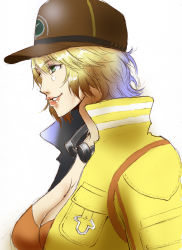1girl absurdres baseball_cap blonde_hair breasts cidney_(final_fantasy) cleavage dirty_face final_fantasy final_fantasy_xv from_side goggles goggles_around_neck green_eyes hat high_collar highres jacket large_breasts lips lipstick makeup nose short_hair smile solo ta-chun