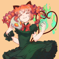 1girl adapted_costume airrabbityan alternate_costume animal_ears braid cat_ears cat_tail dress eyes_closed frilled_dress frills green_dress hair_ribbon heart heart_tail highres kaenbyou_rin long_hair multiple_tails orange_background puffy_sleeves red_hair ribbon short_sleeves simple_background skull smile solo tail touhou tress_ribbon twin_braids upper_body wrist_cuffs