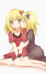 2girls adapted_costume aki_minoriko aki_shizuha alternate_costume barefoot blonde_hair blush brown_dress dress eyes_closed food fruit grapes grey_background heart heart-shaped_pupils highres hug incest lace leaf leaf_on_head looking_at_another looking_to_the_side mickeysmith multiple_girls no_hat open_mouth profile red_dress short_hair short_sleeves siblings simple_background sisters sitting symbol-shaped_pupils touhou yellow_eyes yuri
