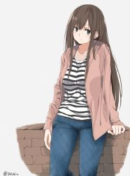 1girl absurdres amu_(258shin) bangs blue_eyes blush breasts brick_wall brown_hair closed_mouth denim highres hood hoodie jeans leaning_on_object long_hair looking_at_viewer medium_breasts open_clothes open_hoodie original pants shirt simple_background solo striped striped_shirt twitter_username white_background white_shirt