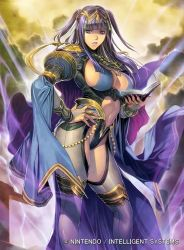 1girl absurdres adapted_costume alternate_costume bangs black_hair blue_eyes blue_hair blunt_bangs book breasts cape center_opening cleavage contrapposto detached_sleeves fire_emblem fire_emblem:_kakusei gloves hand_on_hip highres homare_(fool's_art) jewelry large_breasts long_hair looking_at_viewer navel nintendo official_art open_book open_mouth parted_lips purple_eyes purple_hair red_eyes revealing_clothes sideboob sketch solo tharja thighhighs tiara two_side_up wide_sleeves