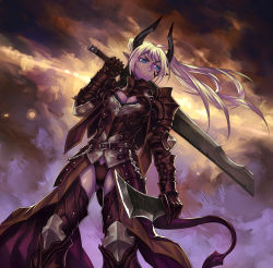 1girl armor blonde_hair blue_eyes breasts cleavage full_armor horns long_hair over_shoulder pixiv_fantasia pixiv_fantasia_fallen_kings pointy_ears shinazo solo sword sword_over_shoulder tail twintails weapon weapon_over_shoulder