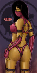 4ta black_hair looking_at_viewer mileena mortal_kombat pixiv_thumbnail resized yellow_eyes