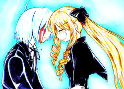 1boy 1girl ayasaki_hayate blonde_hair blood blue_hair breasts formal hayate_no_gotoku! long_hair short_hair suit tears tennousu_athena