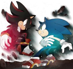 2boys face-to-face gloves multiple_boys naoko_(juvenile) no_humans shadow_the_hedgehog shoes sneakers sonic sonic_the_hedgehog
