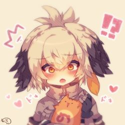 !? /\/\/\ 1girl :o black_gloves black_hair blush bodystocking cat chibi collared_shirt eyebrows_visible_through_hair fingerless_gloves gloves grey_hair grey_shirt hair_between_eyes heart holding holding_cat kemono_friends long_hair low_ponytail multicolored_hair muuran open_mouth orange_eyes orange_hair shirt shoebill_(kemono_friends) short_sleeves side_ponytail surprised upper_body