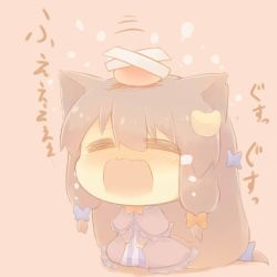 1girl animal_ears blue_ribbon cat_ears chibi crescent crescent_hair_ornament crossed_bandaids crying eyes_closed hair_ornament hair_ribbon hazuki_ruu kemonomimi_mode long_hair open_mouth pajamas patchouli_knowledge purple_hair red_ribbon ribbon solo striped striped_pajamas tears touhou translation_request tress_ribbon wavy_mouth