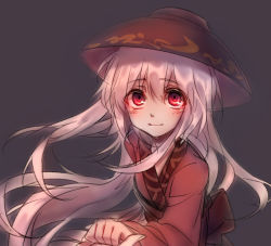 1girl blush bowl bowl_hat hand_holding hat japanese_clothes kimono long_hair obi purple_hair red_eyes sash smile sukuna_shinmyoumaru touhou very_long_hair yudaoshan